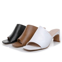 2019 fashion womens sandals dress shoes pu block middle heels mules sandals for womens and ladies peep toe