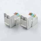 Yueqing Jisheng manufacturer white telecom modular female 8 pin ethernet amp rj45 connector cat6 keystone jack