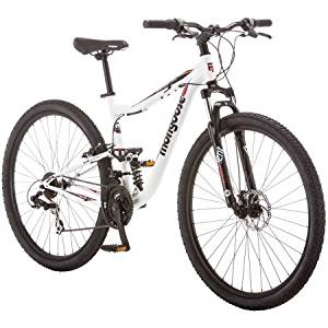 "Mongoose 29"" R4058WMC Mountain Style Athletic Seat 21-Speed Ledge 3.5 Men's Mountain Bike, White/Red Color"