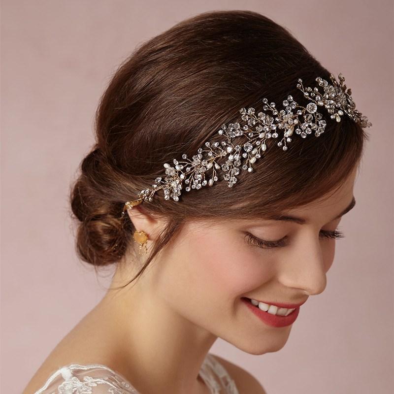 Headbands For Wedding Hairstyle: Gorgeous-Crystal-Bridal-Headband-Wedding-Rhinestone
