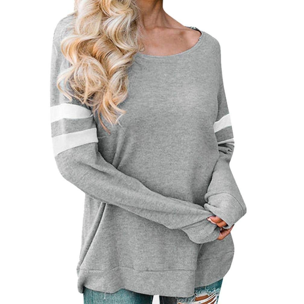 d3575529931041 Get Quotations · BCDshop Womens Casual Wide O-Neck Striped Long Sleeve Blouses  Tops Shirts T-Shirts