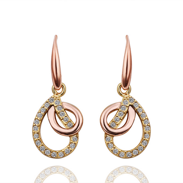 Austria Crystal & Auden Rhinestone Long Drop Earrings Water Drop Style Jewelry Alloy Gold Plated Lady Fashion Gift Sale