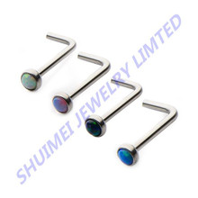 Stainless Steel L Bend Nose Stud Ring With Opal Top Body Piercing Jewelry