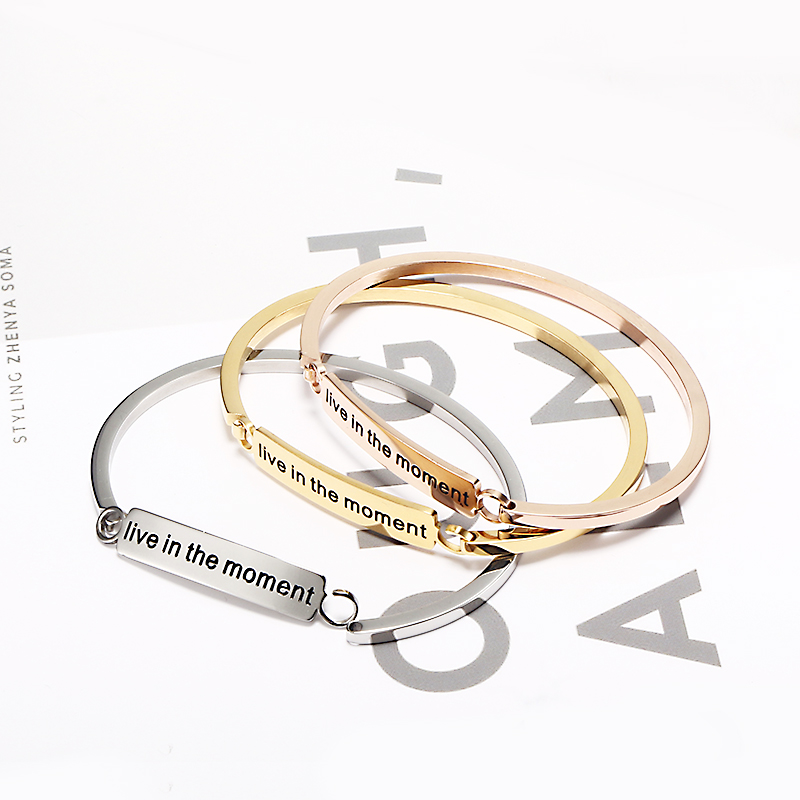 New Arrive Stainless Steel Silver Engraved Bangles For Woman