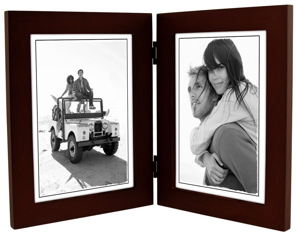 Malden International Designs Linear Espresso Walnut Double Wooden Picture Frame, 5 by 7-Inch