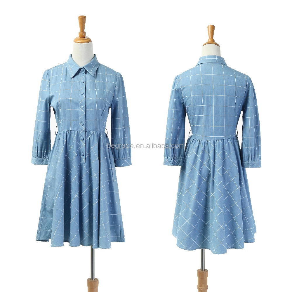 Casual women clothing long sleeve dresses lady Classics Pastoral dress