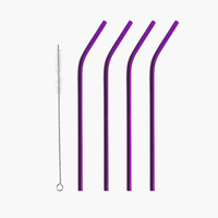 Hot selling 2019 purple eco-friendly stainless steel drinking straw