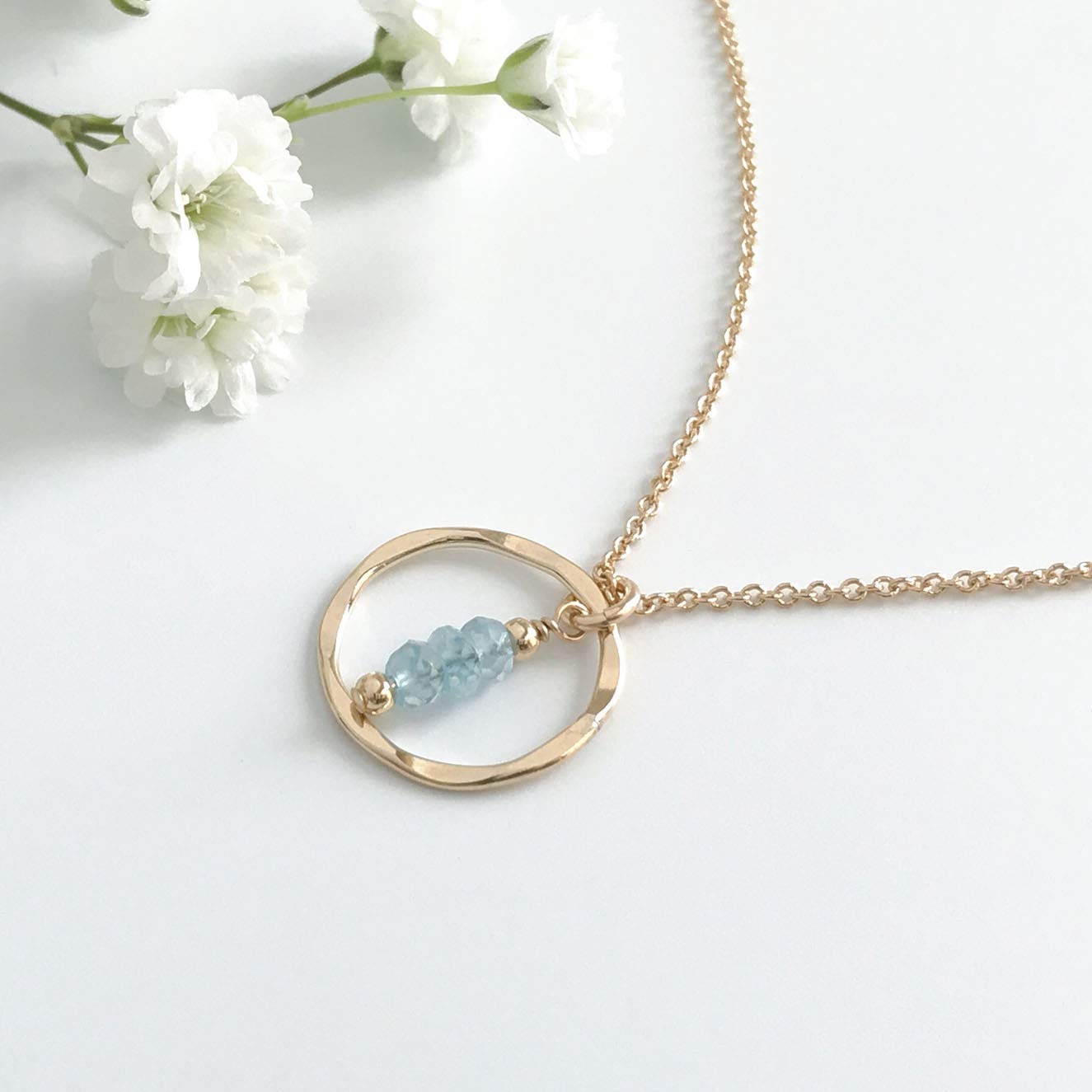 f1ad7e13f Get Quotations · Aquamarine Gold Circle Necklace - March Birthstone