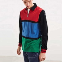 Multicolor Wholesale Half Zip No Button Polo Shirt Rugby Long Sleeve Polo Rugby Shirt Customized