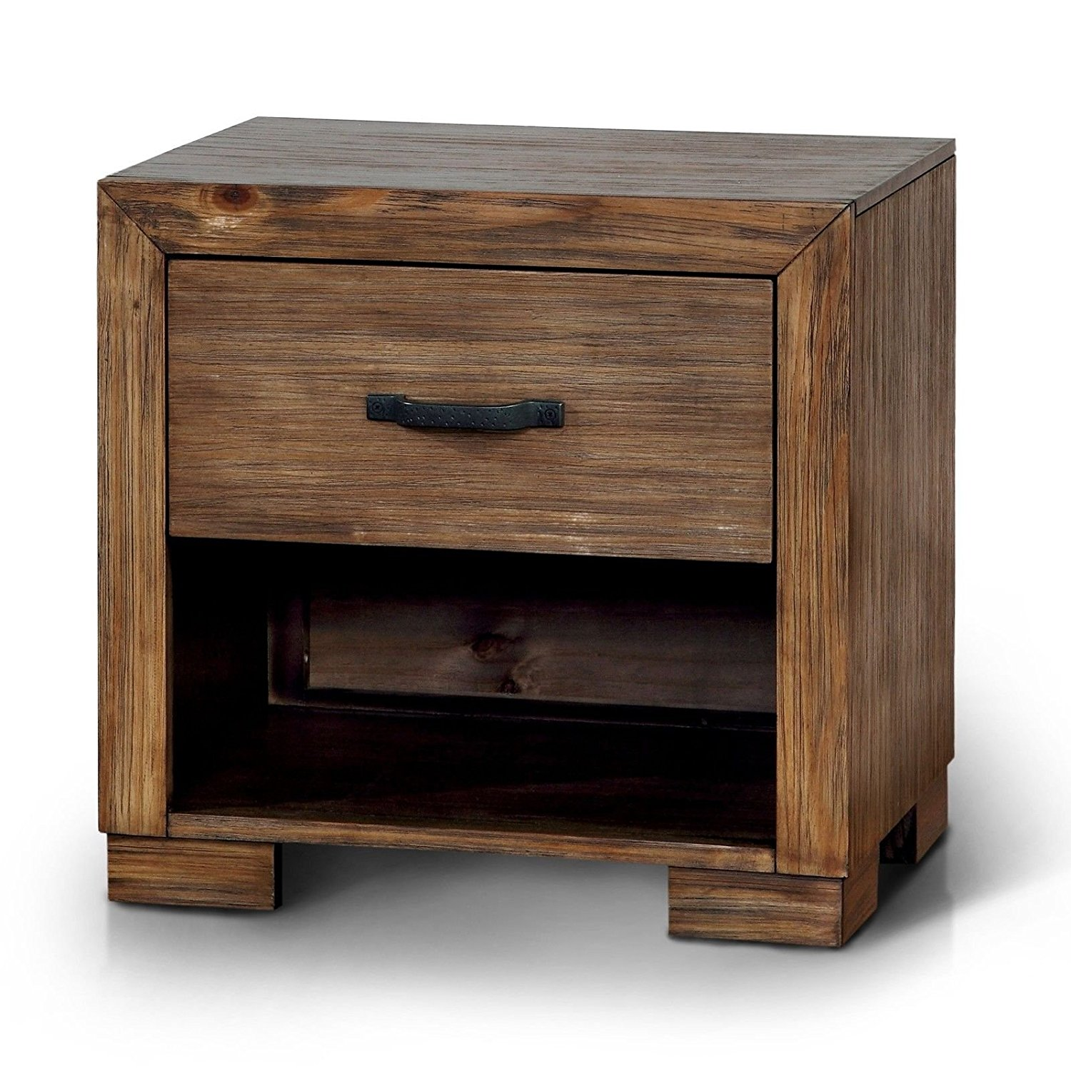 Reclaimed Pine Wood Finished Fully Assembled Single Lower Open Compartment Storage Single Storage Drawer with USB and Power Outlets Rectangular Bed Side Nightstand Includes Our Exclusive Ebook