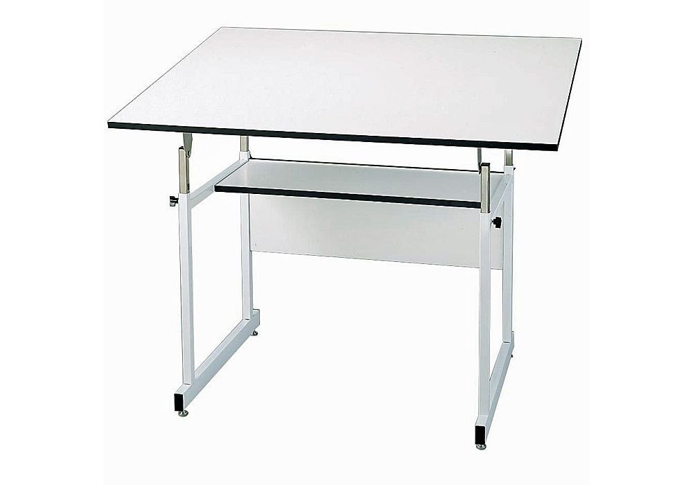 "Workmaster Four-Post Drafting Table With White Base White Top/White Base Dimensions: 48""W X 36""D X 29-46""H Weight: 100 Lbs"