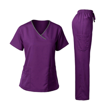 Delle donne <span class=keywords><strong>Medico</strong></span> Scrub Set Con Scollo A V Top + Coulisse Pant