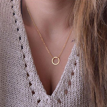 2015 new women trendy necklaces Fashion Simple gold plated Circle Pendant choker necklace ladies short Clavicle Chain Wholesale