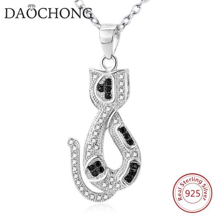 2016 New <strong>Fashion</strong> Black And White Diamond Silver Necklace Animal Designs