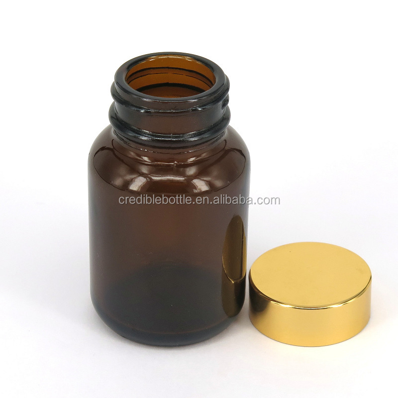 Medicine pill 120cc amber glass bottle with silver gold color lids Pharmaceutical Industrial Use