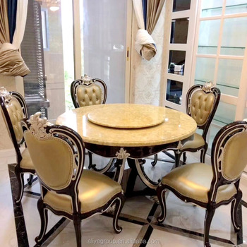 Luxury Solid Wooden Round Dining Table With Rotating Centre Marble
