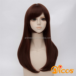 High Quality Overwatch D.Va Cosplay Wig 60cm Medium Long Straight Dark Brown Wig Synthetic Anime Hair Wig