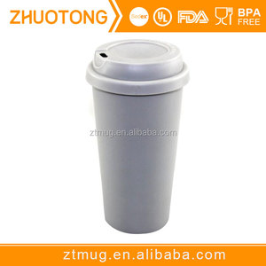 Factory direct promotional cheap double wall plastic screw lid leakage proof travel mug coffee tumbler