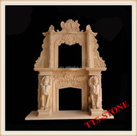 Yellow Double Deck Marble Fireplace