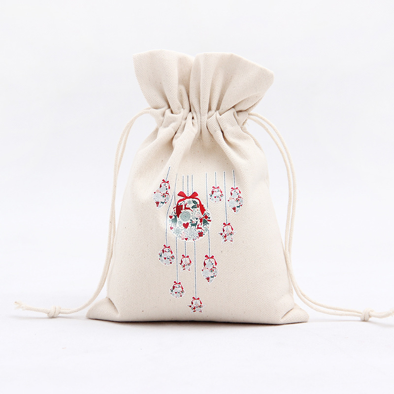 Amazon 2018 Christmas Eve Decor 100%Cotton Bag Wholesale Santa  cute gift pouch