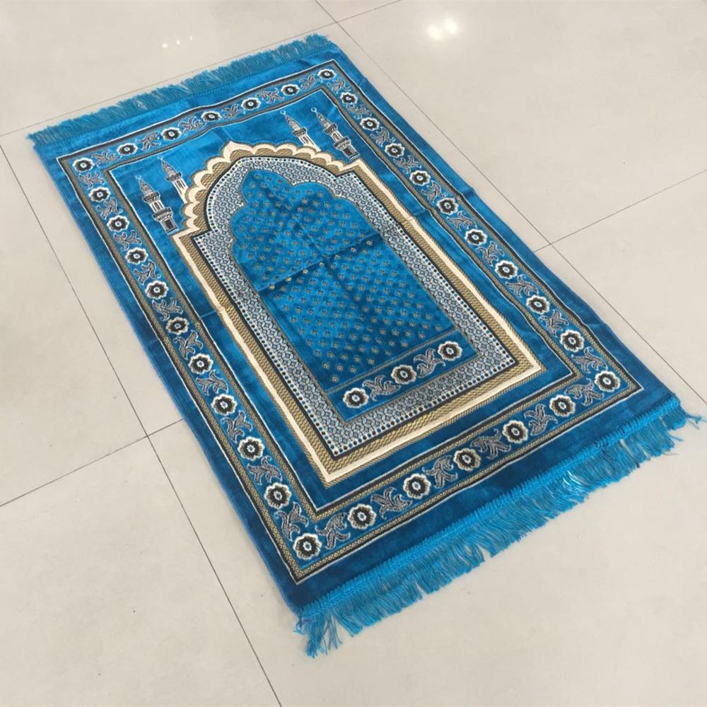 High Quality Velvet Islam Carpet Prayer Mat Blue