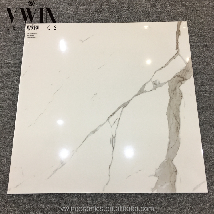 White marble price 600*600mm carrara look glazed tile white brown veins marble tiles