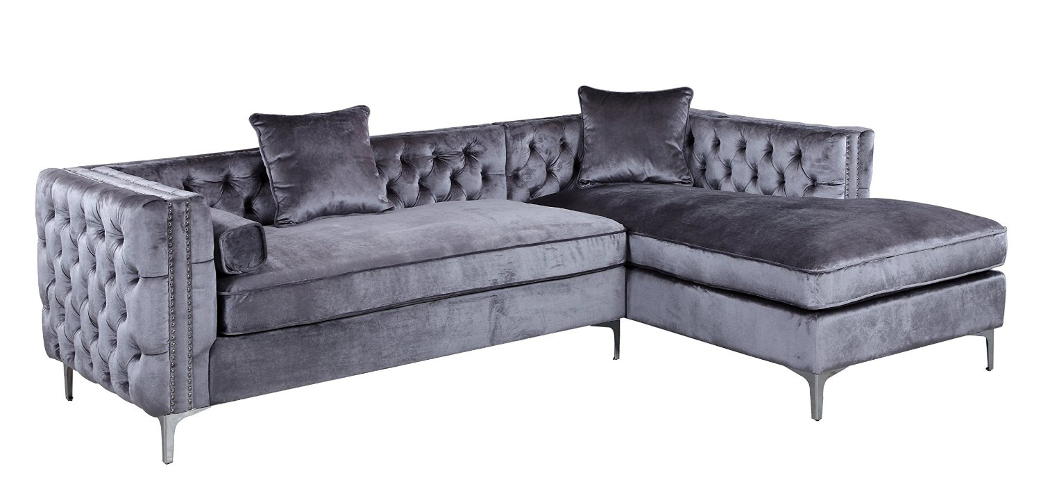 9dcbca8797bd Iconic Home Da Vinci Tufted Silver Trim Grey Velvet Right Facing Sectional  Sofa with Silver Tone