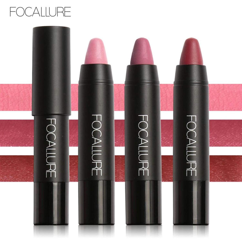 Ourhomer 3Pcs FOCALLURE Waterproof Long-Lasting Red Velvet Matte Color Pencil Lipstick Crayon Makeup Set
