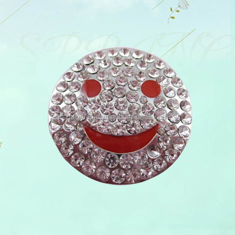 Latest design delicate rhinestone smiling face brooch