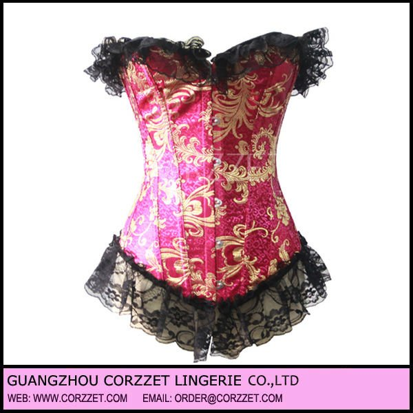 Luxurious Pink and Gold Gothic Corset Dress