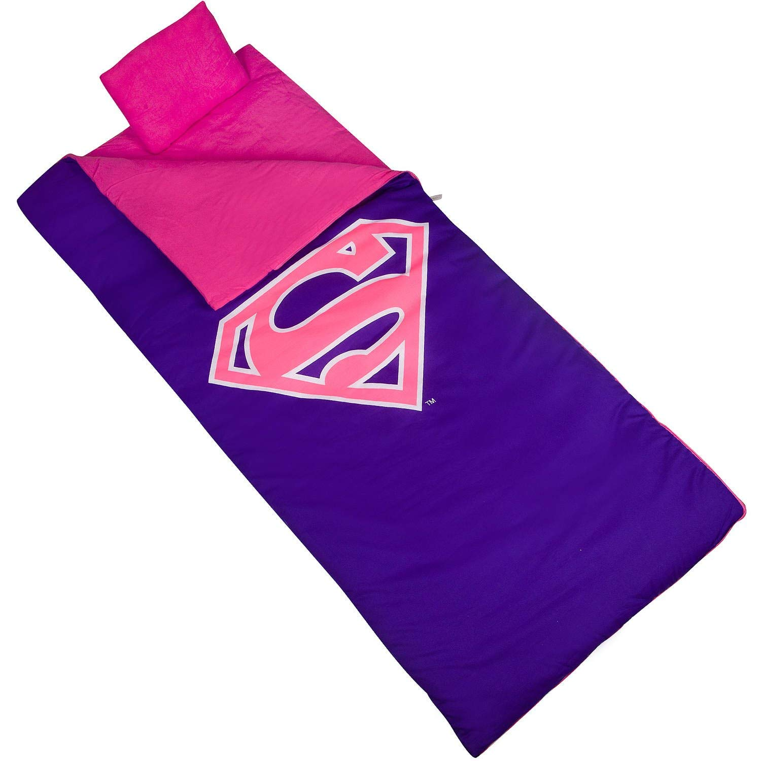 TL 2 Piece Kids Girls Pink Purple Superman Themed Sleeping Bag, Awesome Super Hero Theme Fun Outdoors Recreation Sleep Sack Blanket, Super Man Shield Fuchsia Travel Bedding Roll, Cotton