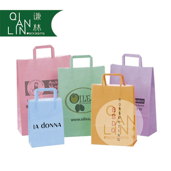 customized flat handle kraft paper bag takeout delivery bag with