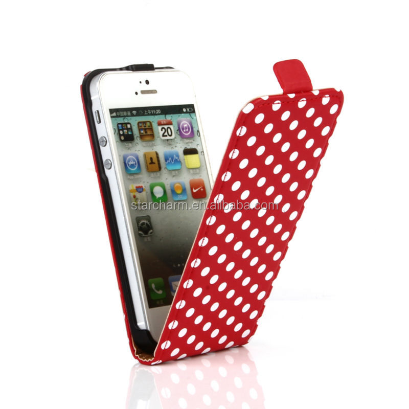 Polka Dot Slim Leather Cell Phone Case for Iphone5