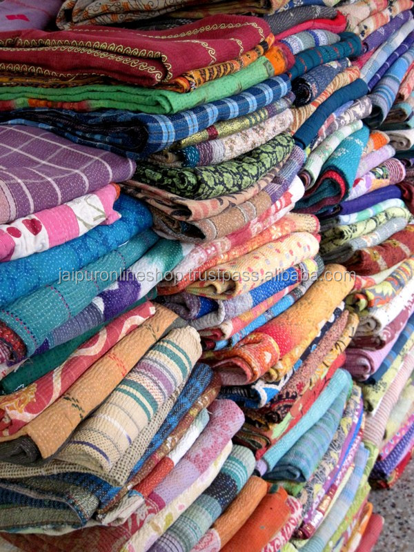 indian kantha Fabric and ralli quilt wholesale