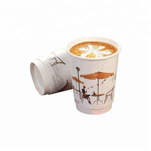 8 oz 12 oz 16 oz Custom Printing logo Double Wall paper cup with lid for coffee