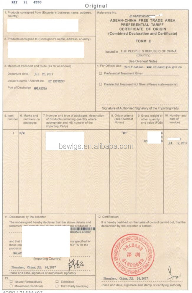 Asean China Free Trade Area Preferential Tariff Certificate Of