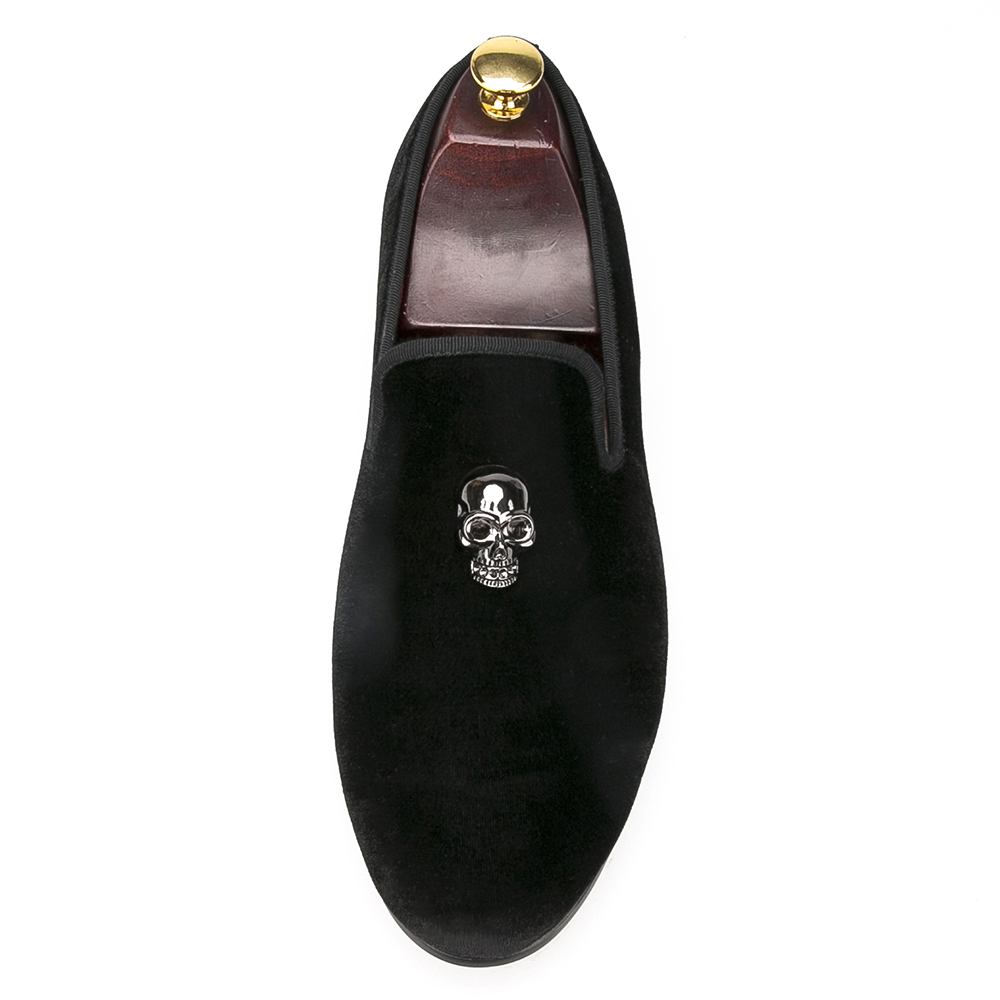 casual velvet fashion shoes black men skull slippers wXzHqax