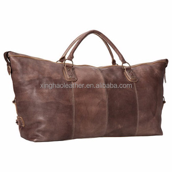 55733f5f2ac8 Large trim travel weekender bag high end quality leather duffle bag for mens
