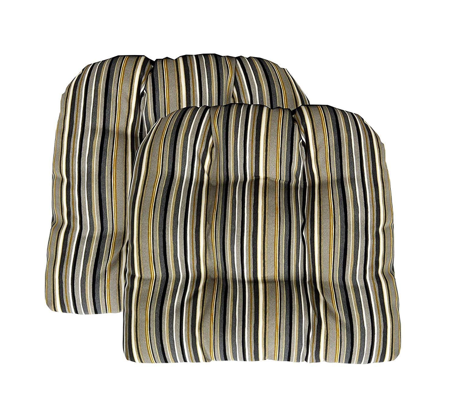 """RSH Décor Set of 2 Indoor Outdoor Wicker Tufted Large(21"""" x 21"""") U - Shape Chair Cushions - Tan Black Gold Grey/Gray Ivory Stripe Cushions"""