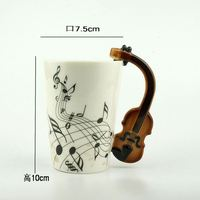 Zogift China Supplier Wholesale Manufacturing Factory Price Musical violin ceramic Coffee cup,guitar handle tea mug