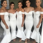 Ivory Mermaid Sweetheart Off Shoulder Floor Length Bodycon Ruffles Bridesmaid Wedding Dress High Quality