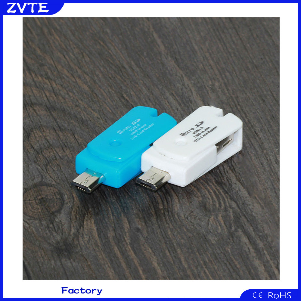 Multi function USB 2.0 + Micro USB OTG Adapter MINI SD Card Reader for Smart Phone PC