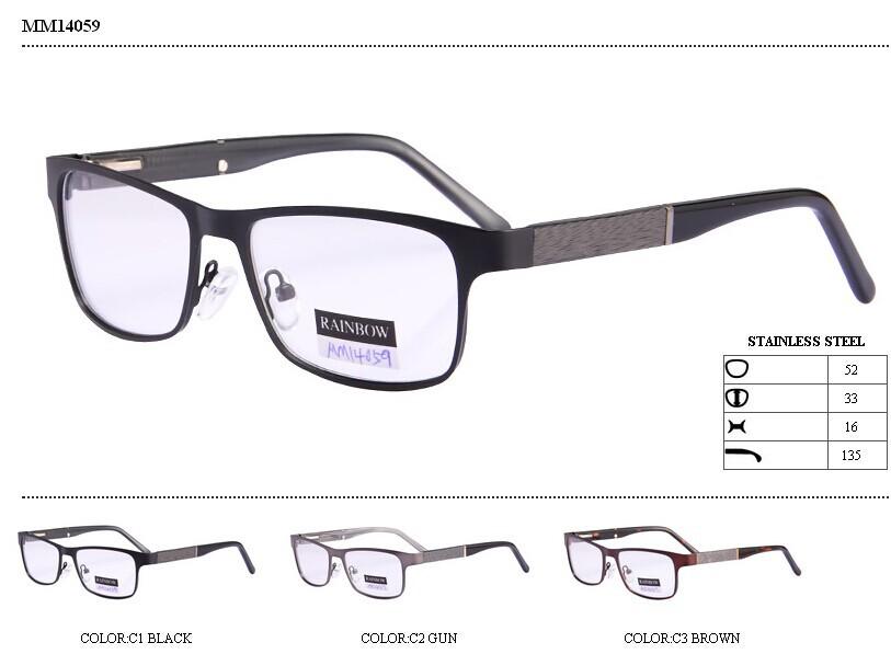 de metal marco óptico gafas con madera parte conjunta el templo de ...