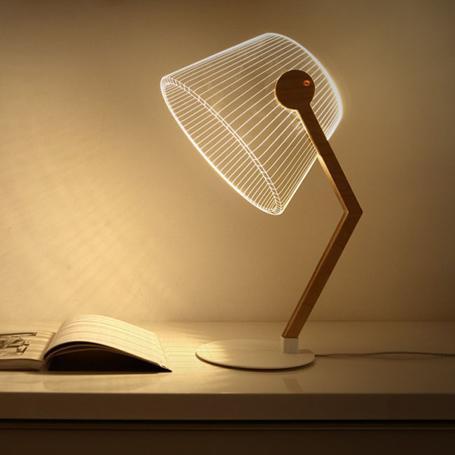 3D plug bedside Nightlight desk wooden lamp for project