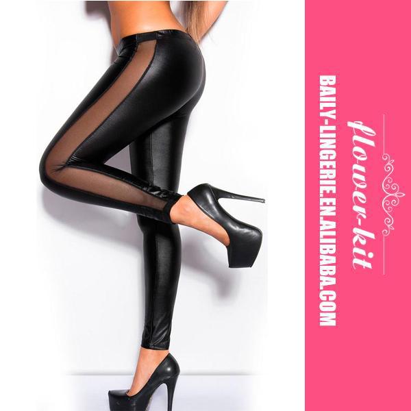 Women Fashion Black Leather Mesh Leggings Tight Pants фото