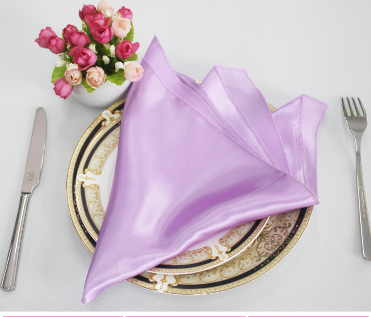 Cheap wedding satin Table Napkins / white pink purple overlock dining damask table Linen decoration for banquet restaurant