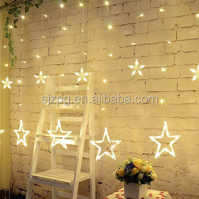 Decorative LED curtain star string lights for Christmas decoration
