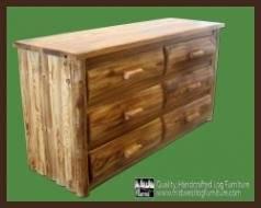 Midwest Log Furniture - Torched Cedar Log Dresser - 6 Drawer