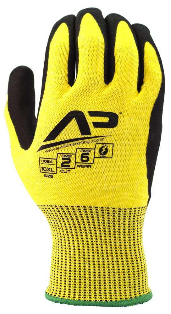 Apollo Performance Work Gloves 1083, Tool Grabber Cut Protect 2, Cut Resistant Glove, 13 Gauge HPPE Knit, Triple Polymer Hybrid Grip, Touch Screen Capabilities with Lightning Touch Technology, ANSI Cut Level 2, 1 Pair, Large, Hi Vis Yellow