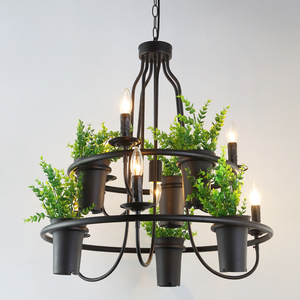American Retro Chandelier Green Plant Wrought Iron Chandelier